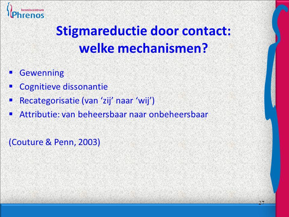 27 Stigmareductie door contact: welke mechanismen.