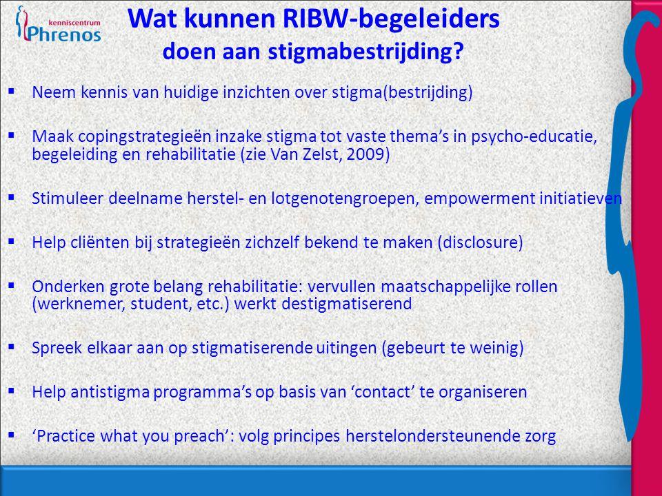 Wat kunnen RIBW-begeleiders doen aan stigmabestrijding.
