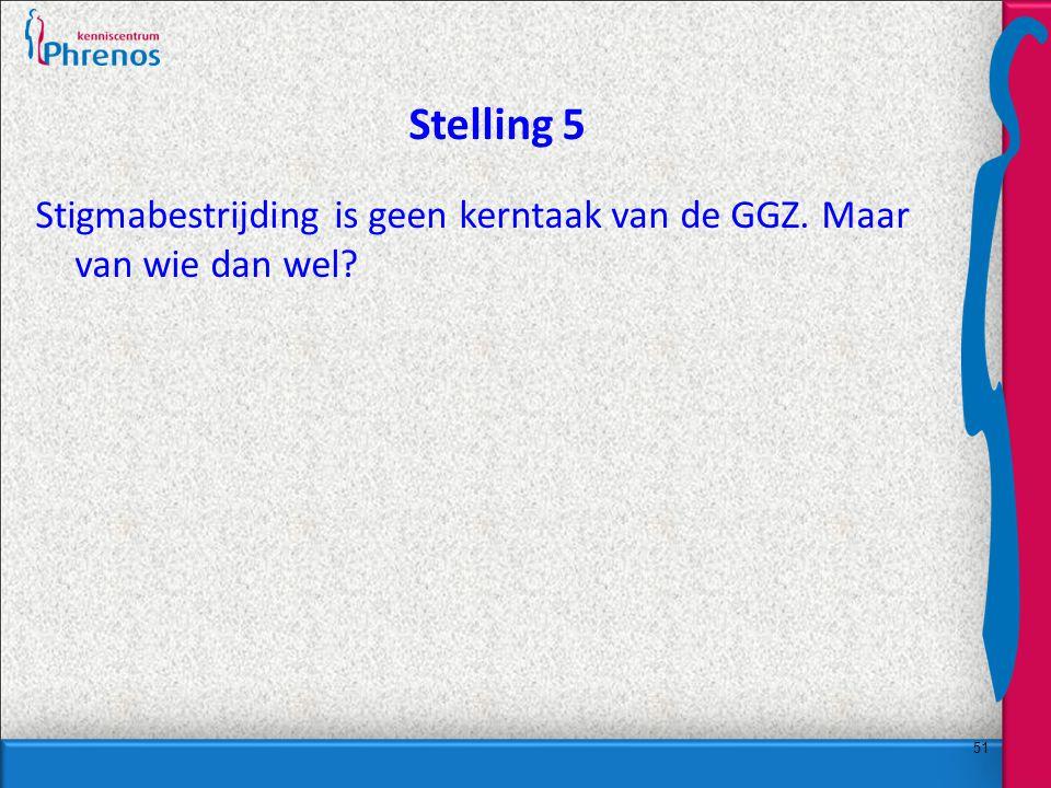 51 Stelling 5 Stigmabestrijding is geen kerntaak van de GGZ. Maar van wie dan wel?