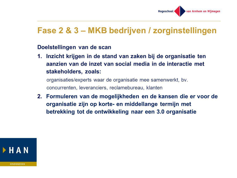 Fase 2 & 3 – MKB bedrijven / zorginstellingen Doelstellingen van de scan 1.Inzicht krijgen in de stand van zaken bij de organisatie ten aanzien van de