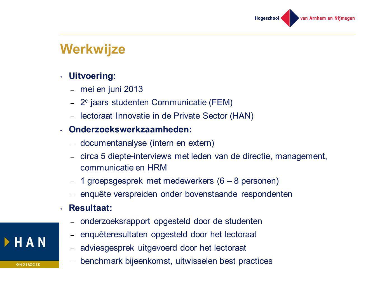 Werkwijze Uitvoering: – mei en juni 2013 – 2 e jaars studenten Communicatie (FEM) – lectoraat Innovatie in de Private Sector (HAN) Onderzoekswerkzaamh