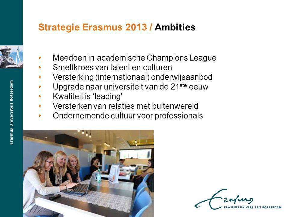 Strategie Erasmus 2013 / Ambities Meedoen in academische Champions League Smeltkroes van talent en culturen Versterking (internationaal) onderwijsaanbod Upgrade naar universiteit van de 21 ste eeuw Kwaliteit is 'leading' Versterken van relaties met buitenwereld Ondernemende cultuur voor professionals