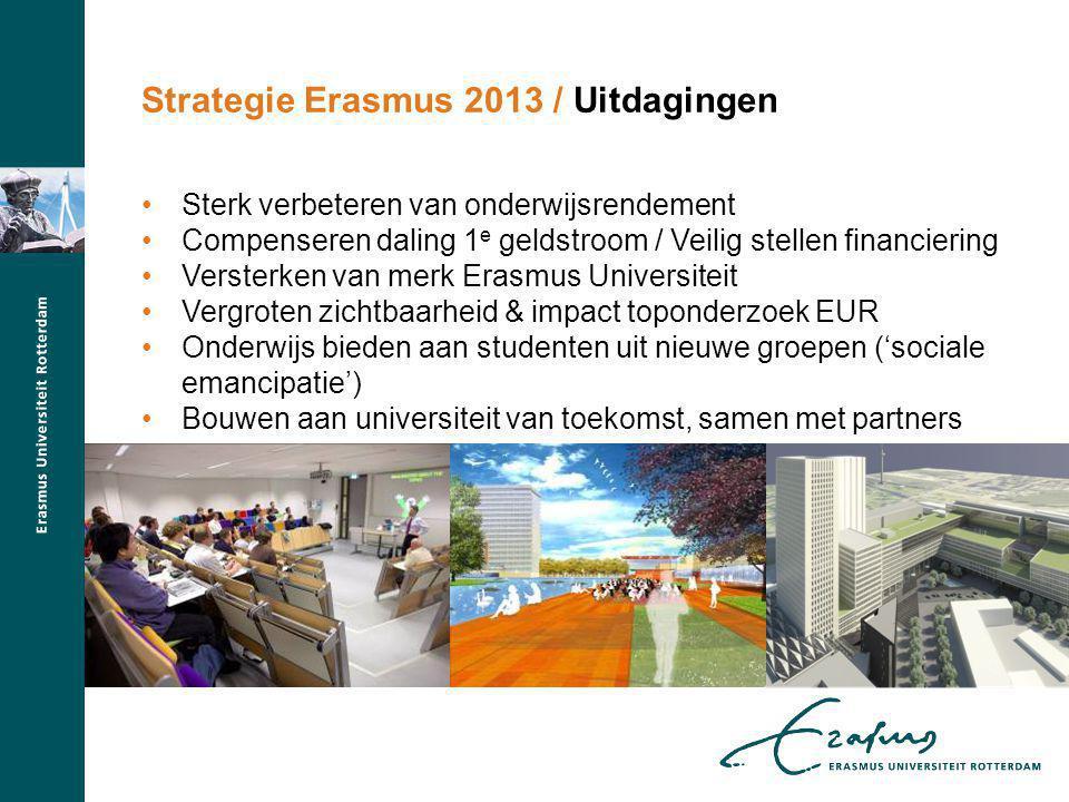 Sterk verbeteren van onderwijsrendement Compenseren daling 1 e geldstroom / Veilig stellen financiering Versterken van merk Erasmus Universiteit Vergr
