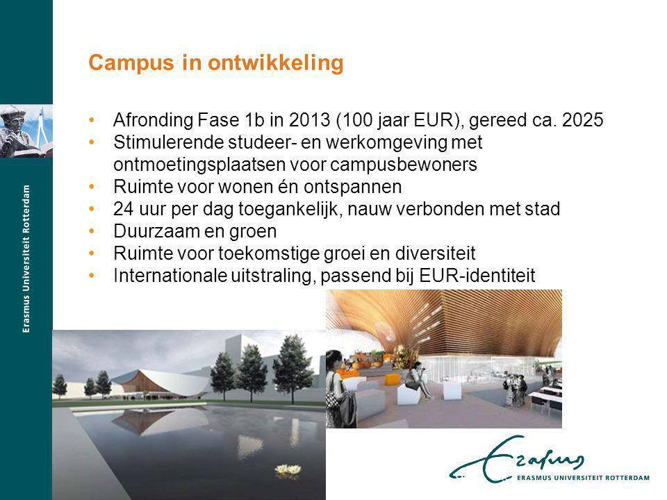 Afronding Fase 1b in 2013 (100 jaar EUR), gereed ca. 2025 Stimulerende studeer- en werkomgeving met ontmoetingsplaatsen voor campusbewoners Ruimte voo