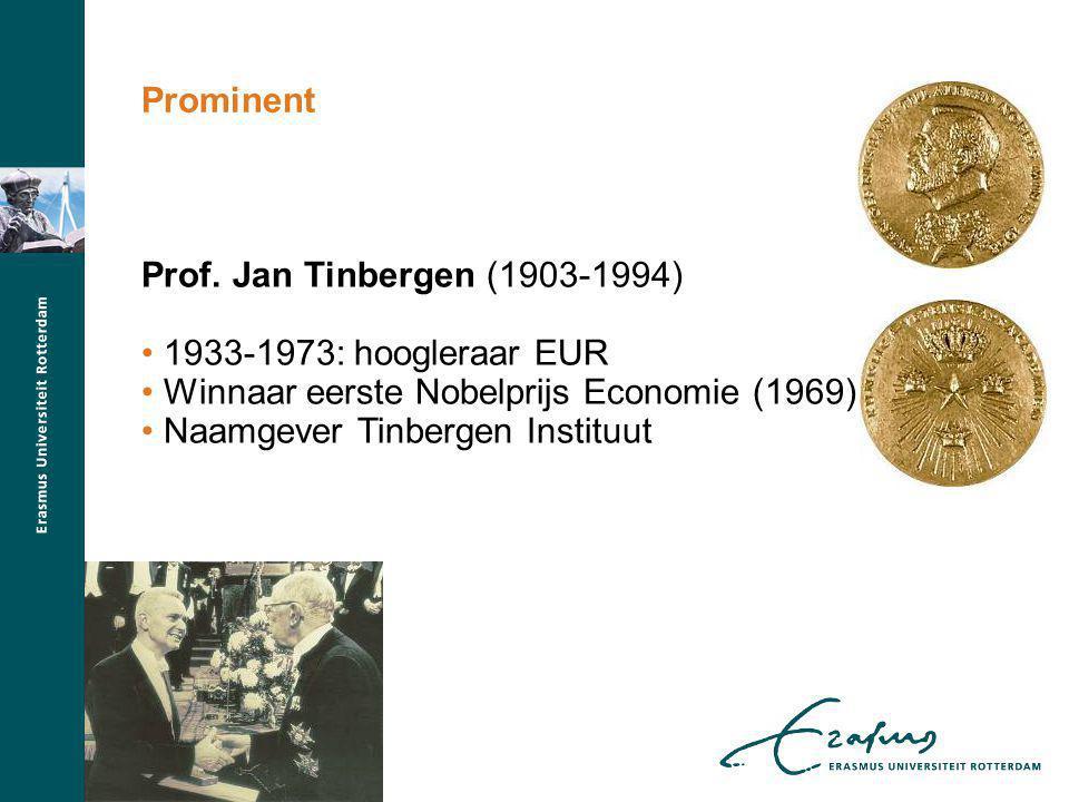 Prof. Jan Tinbergen (1903-1994) 1933-1973: hoogleraar EUR Winnaar eerste Nobelprijs Economie (1969) Naamgever Tinbergen Instituut Prominent