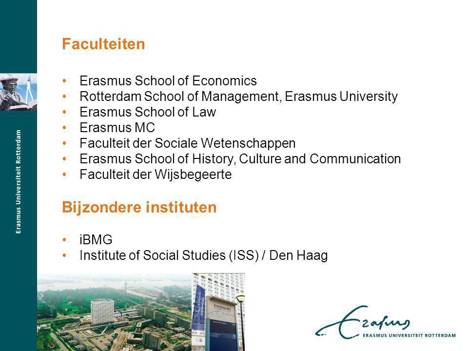 Erasmus School of Economics Rotterdam School of Management, Erasmus University Erasmus School of Law Erasmus MC Faculteit der Sociale Wetenschappen Erasmus School of History, Culture and Communication Faculteit der Wijsbegeerte Bijzondere instituten iBMG Institute of Social Studies (ISS) / Den Haag Faculteiten