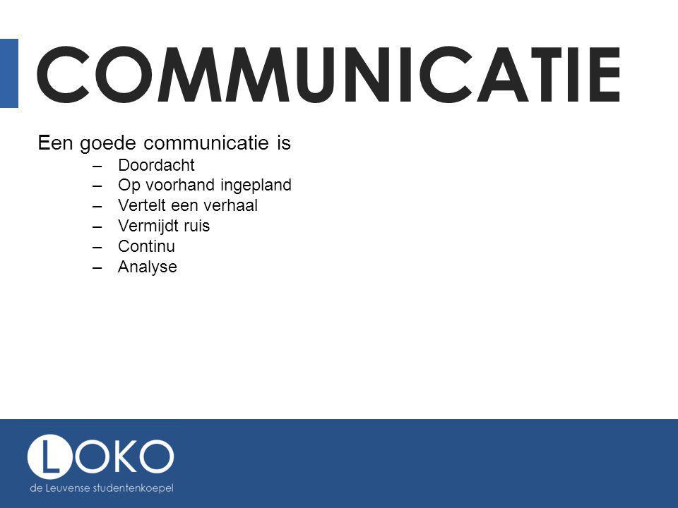 COMMUNICATIE Een goede communicatie is –Doordacht –Op voorhand ingepland –Vertelt een verhaal –Vermijdt ruis –Continu –Analyse