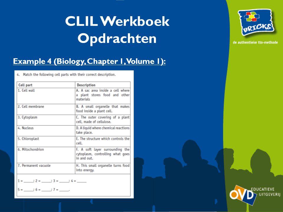 Example 4 (Biology, Chapter 1, Volume 1): CLIL Werkboek Opdrachten