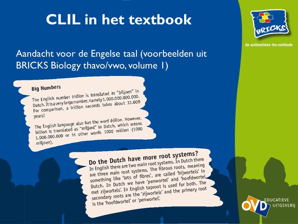 CLIL in het textbook Aandacht voor de Engelse taal (voorbeelden uit BRICKS Biology thavo/vwo, volume 1)