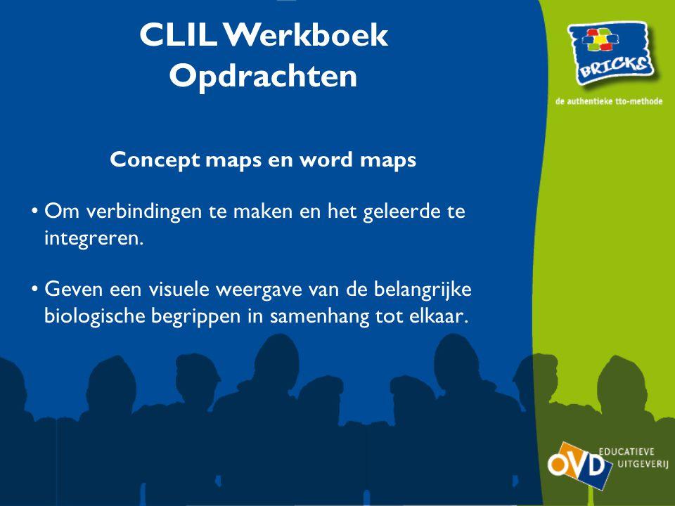 Concept maps en word maps Om verbindingen te maken en het geleerde te integreren. Geven een visuele weergave van de belangrijke biologische begrippen