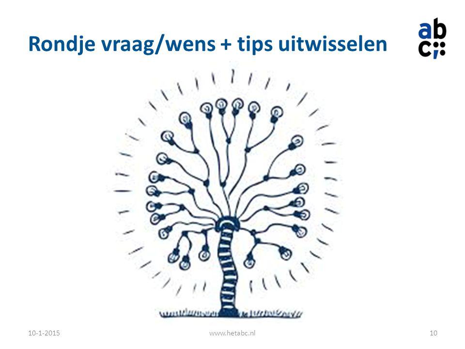 Rondje vraag/wens + tips uitwisselen 10-1-2015www.hetabc.nl10