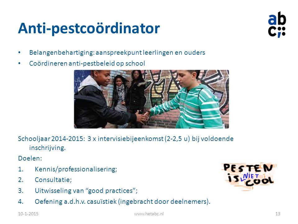 Anti-pestcoördinator Belangenbehartiging: aanspreekpunt leerlingen en ouders Coördineren anti-pestbeleid op school Schooljaar 2014-2015: 3 x intervisi