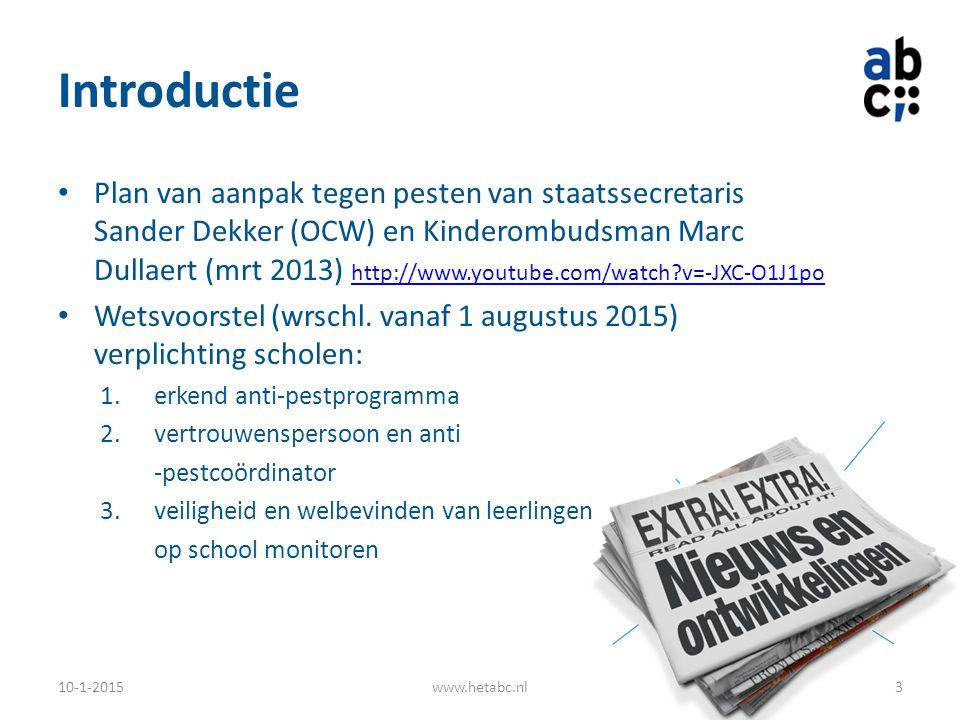 Introductie Plan van aanpak tegen pesten van staatssecretaris Sander Dekker (OCW) en Kinderombudsman Marc Dullaert (mrt 2013) http://www.youtube.com/w