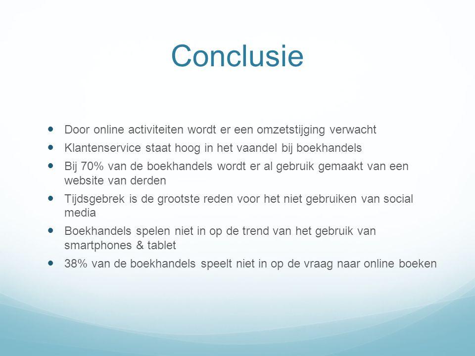 Conclusie Door online activiteiten wordt er een omzetstijging verwacht Klantenservice staat hoog in het vaandel bij boekhandels Bij 70% van de boekhan