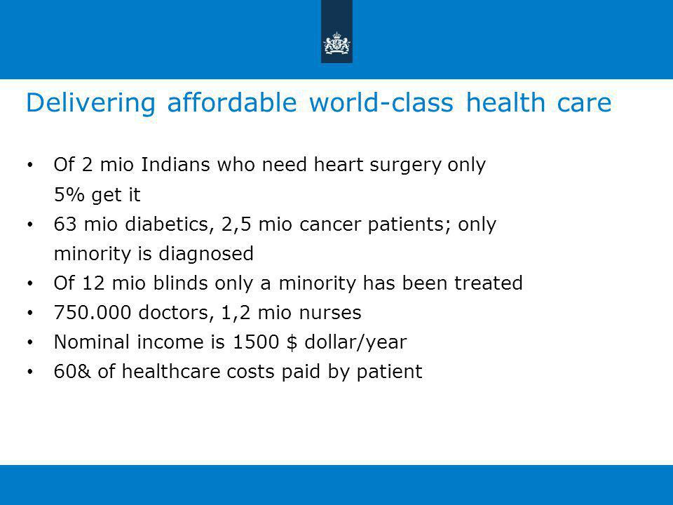 Delivering affordable world-class health care Of 2 mio Indians who need heart surgery only 5% get it 63 mio diabetics, 2,5 mio cancer patients; only minority is diagnosed Of 12 mio blinds only a minority has been treated 750.000 doctors, 1,2 mio nurses Nominal income is 1500 $ dollar/year 60& of healthcare costs paid by patient