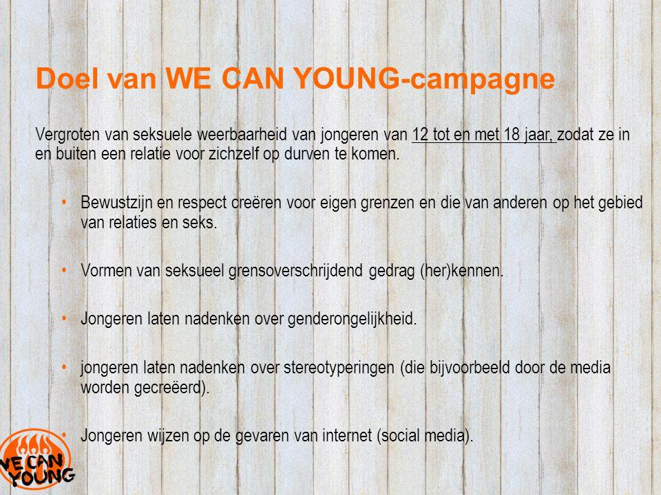 Doel van WE CAN YOUNG-campagne Vergroten van seksuele weerbaarheid van jongeren van 12 tot en met 18 jaar, zodat ze in en buiten een relatie voor zichzelf op durven te komen.