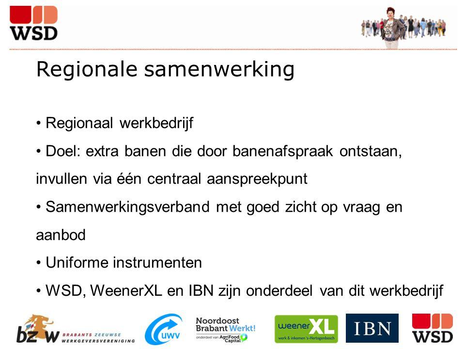 Regionale samenwerking Regionaal werkbedrijf Doel: extra banen die door banenafspraak ontstaan, invullen via één centraal aanspreekpunt Samenwerkingsv