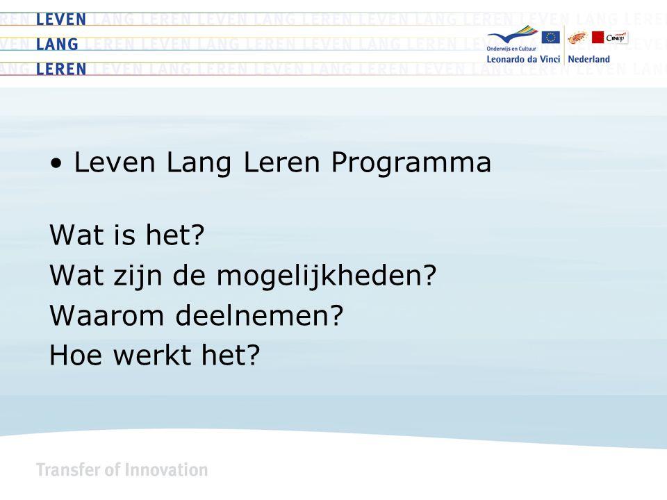 Leven Lang Leren Programma Wat is het Wat zijn de mogelijkheden Waarom deelnemen Hoe werkt het