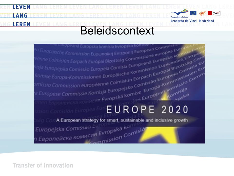 Beleidscontext – education & training 2020 Quality & efficiency to enhance attractiveness and relevance Enhancing creativity, innovation & entrepreneurship Promoting equity, social cohesion & active citizenship Making lifelong learning and mobility a reality