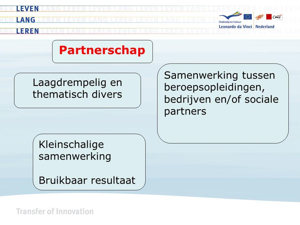 Laagdrempelig en thematisch divers Samenwerking tussen beroepsopleidingen, bedrijven en/of sociale partners Kleinschalige samenwerking Bruikbaar resultaat Partnerschap