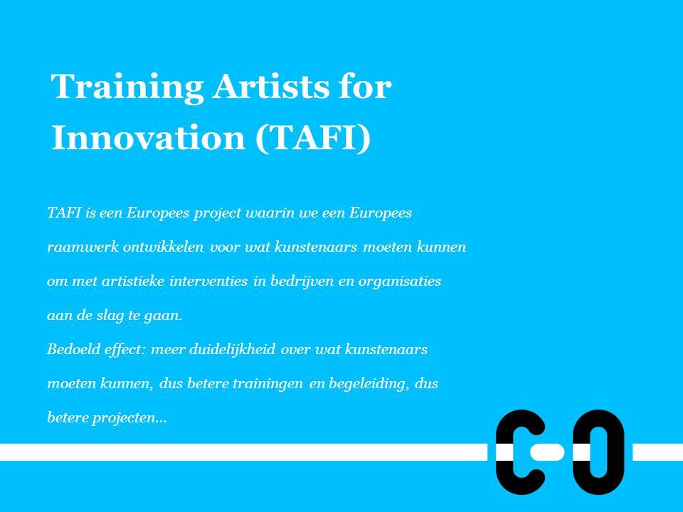 Training Artists for Innovation (TAFI) TAFI is een Europees project waarin we een Europees raamwerk ontwikkelen voor wat kunstenaars moeten kunnen om met artistieke interventies in bedrijven en organisaties aan de slag te gaan.