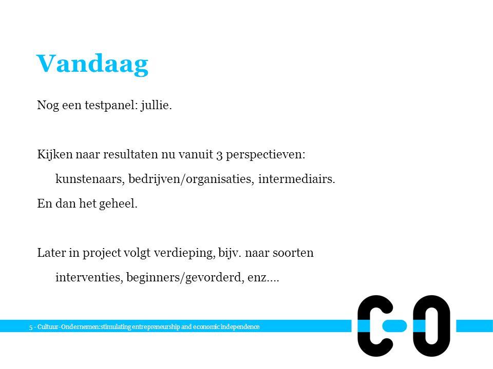 5 - Cultuur-Ondernemen:stimulating entrepreneurship and economic independence Vandaag Nog een testpanel: jullie.