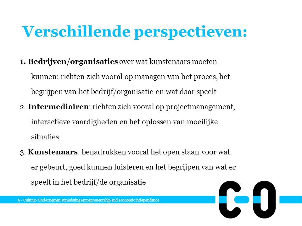 6 - Cultuur-Ondernemen:stimulating entrepreneurship and economic independence Verschillende perspectieven: 1. Bedrijven/organisaties over wat kunstena