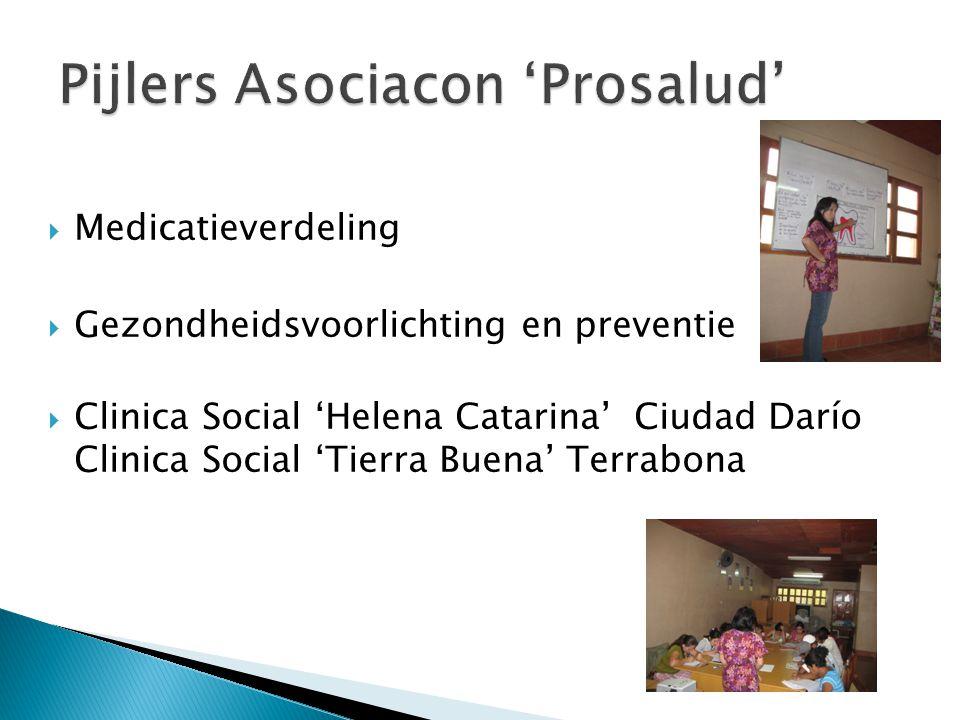  Medicatieverdeling  Gezondheidsvoorlichting en preventie  Clinica Social 'Helena Catarina' Ciudad Darío Clinica Social 'Tierra Buena' Terrabona
