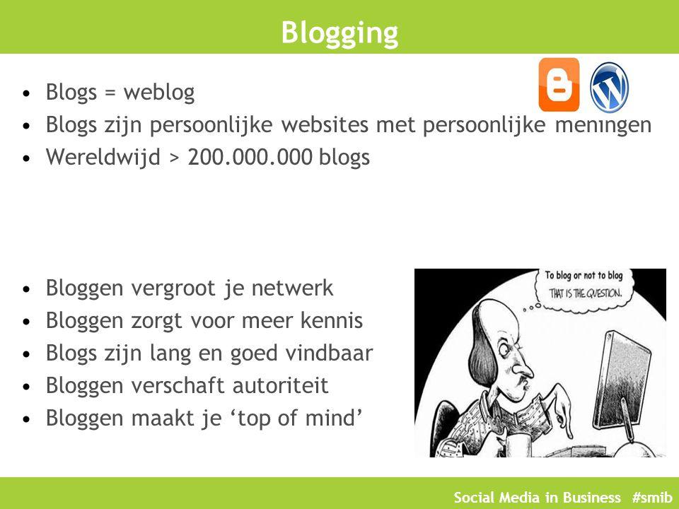 Social Media in Business #smib Blogging Blogs = weblog Blogs zijn persoonlijke websites met persoonlijke meningen Wereldwijd > 200.000.000 blogs Blogg