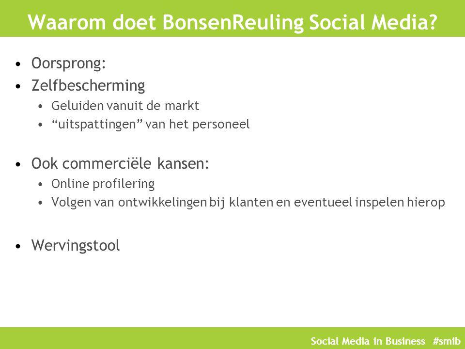 """Social Media in Business #smib Waarom doet BonsenReuling Social Media? Oorsprong: Zelfbescherming Geluiden vanuit de markt """"uitspattingen"""" van het per"""