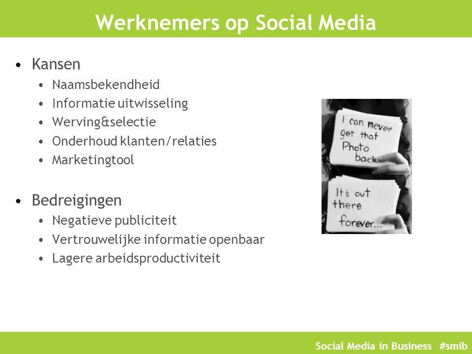 Social Media in Business #smib Werknemers op Social Media Kansen Naamsbekendheid Informatie uitwisseling Werving&selectie Onderhoud klanten/relaties M