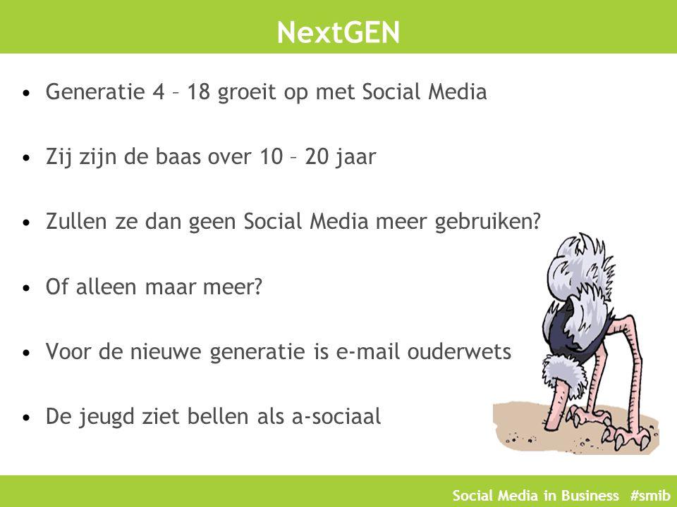 Social Media in Business #smib NextGEN Generatie 4 – 18 groeit op met Social Media Zij zijn de baas over 10 – 20 jaar Zullen ze dan geen Social Media