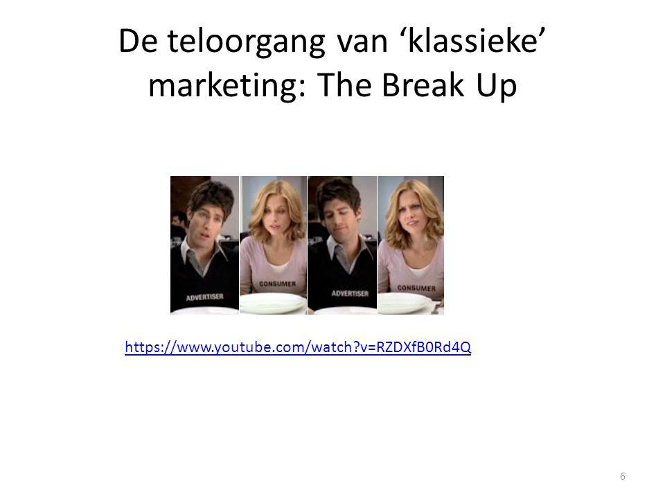 De teloorgang van 'klassieke' marketing: The Break Up 6 https://www.youtube.com/watch?v=RZDXfB0Rd4Q