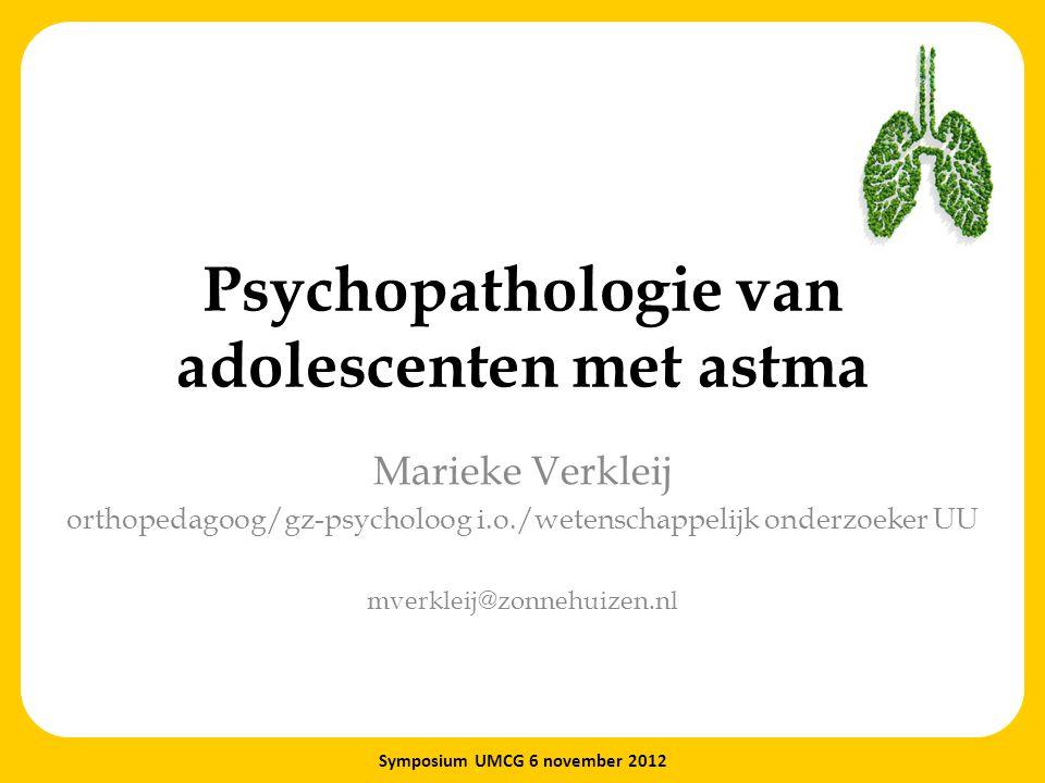 Psychopathologie van adolescenten met astma Marieke Verkleij orthopedagoog/gz-psycholoog i.o./wetenschappelijk onderzoeker UU mverkleij@zonnehuizen.nl