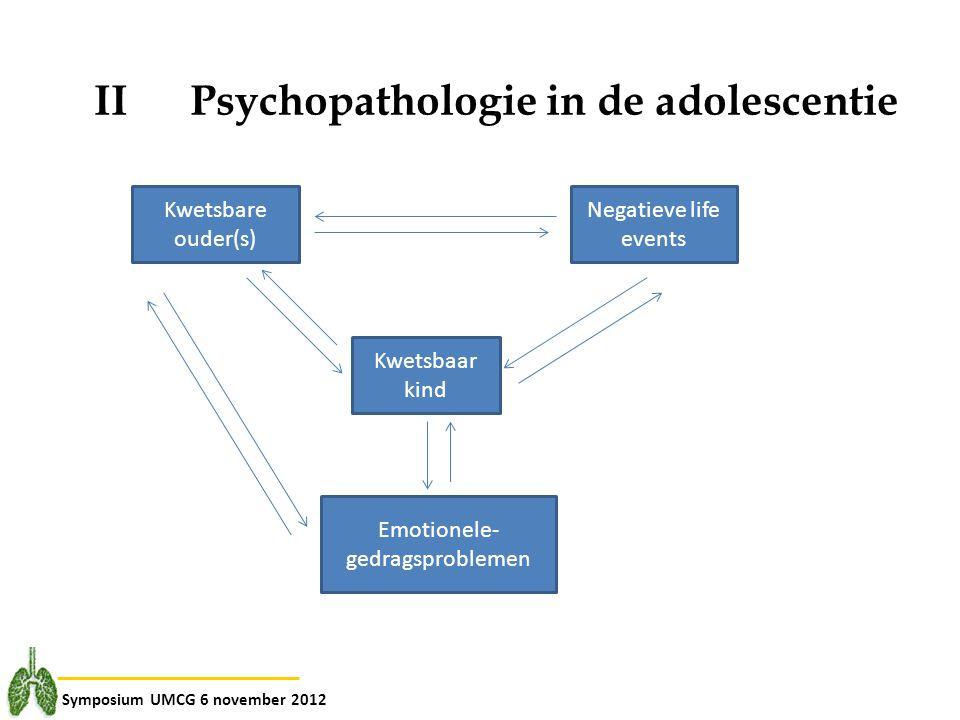 Symposium UMCG 6 november 2012 II Psychopathologie in de adolescentie Kwetsbare ouder(s) Negatieve life events Kwetsbaar kind Emotionele- gedragsprobl