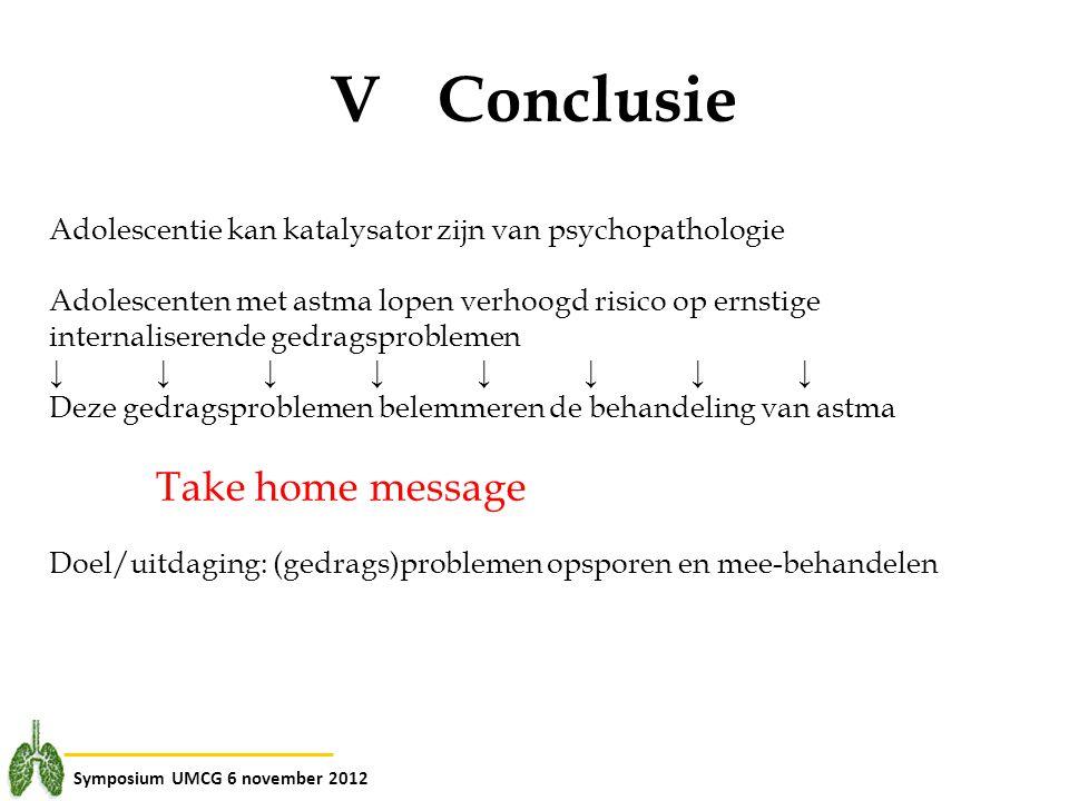 Symposium UMCG 6 november 2012 V Conclusie Adolescentie kan katalysator zijn van psychopathologie Adolescenten met astma lopen verhoogd risico op erns