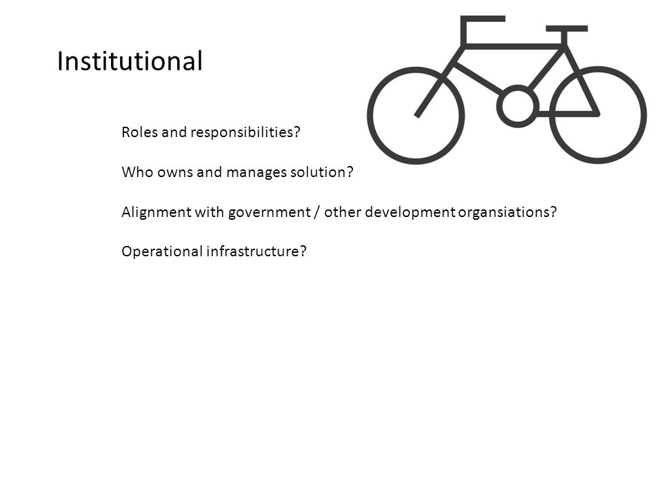 Institutional Roles and responsibilities.Who owns and manages solution.
