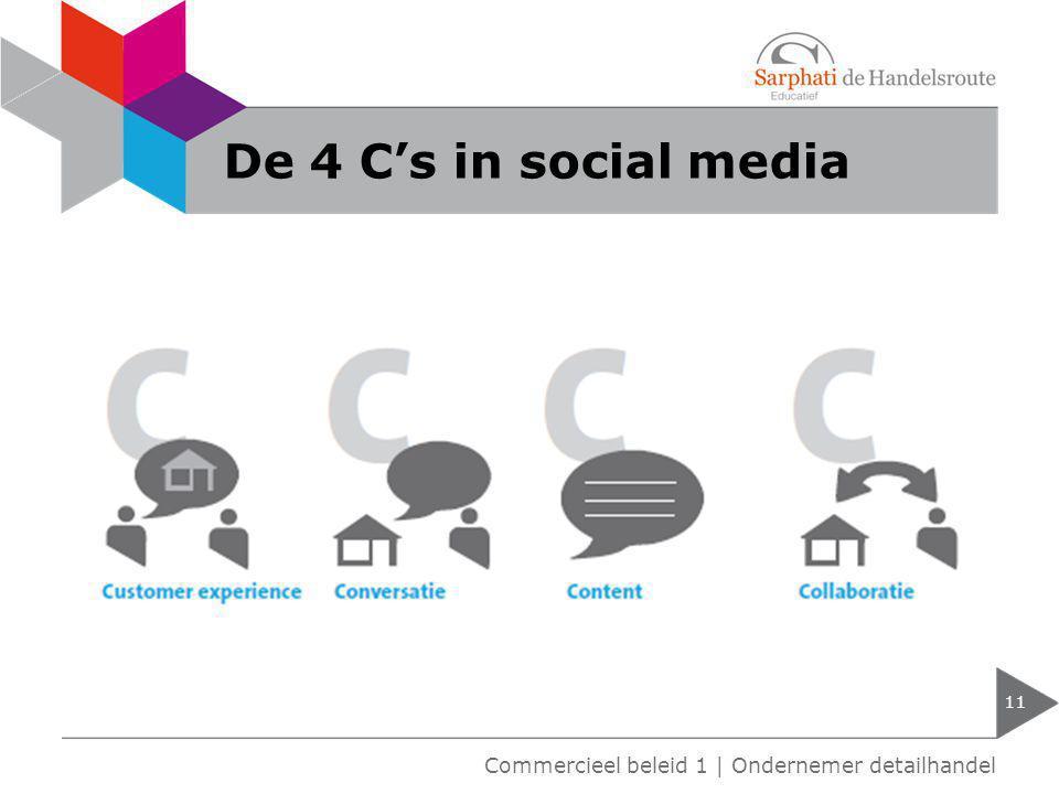 De 4 C's in social media 11 Commercieel beleid 1 | Ondernemer detailhandel
