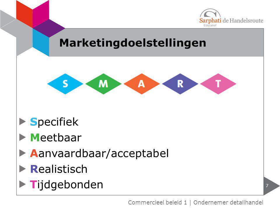 Specifiek Meetbaar Aanvaardbaar/acceptabel Realistisch Tijdgebonden 7 Marketingdoelstellingen Commercieel beleid 1 | Ondernemer detailhandel