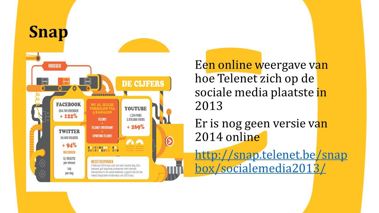 Snap Een online weergave van hoe Telenet zich op de sociale media plaatste in 2013 Er is nog geen versie van 2014 online http://snap.telenet.be/snap b