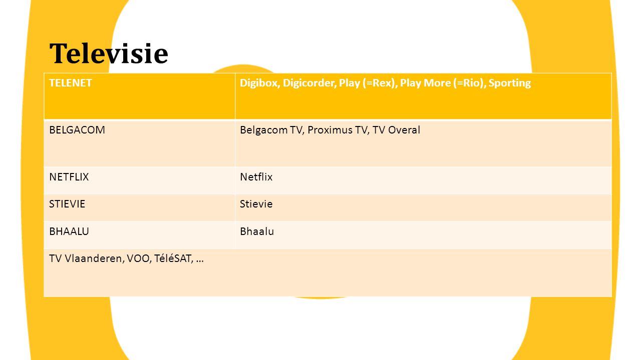 Televisie TELENETDigibox, Digicorder, Play (=Rex), Play More (=Rio), Sporting BELGACOMBelgacom TV, Proximus TV, TV Overal NETFLIXNetflix STIEVIEStievi