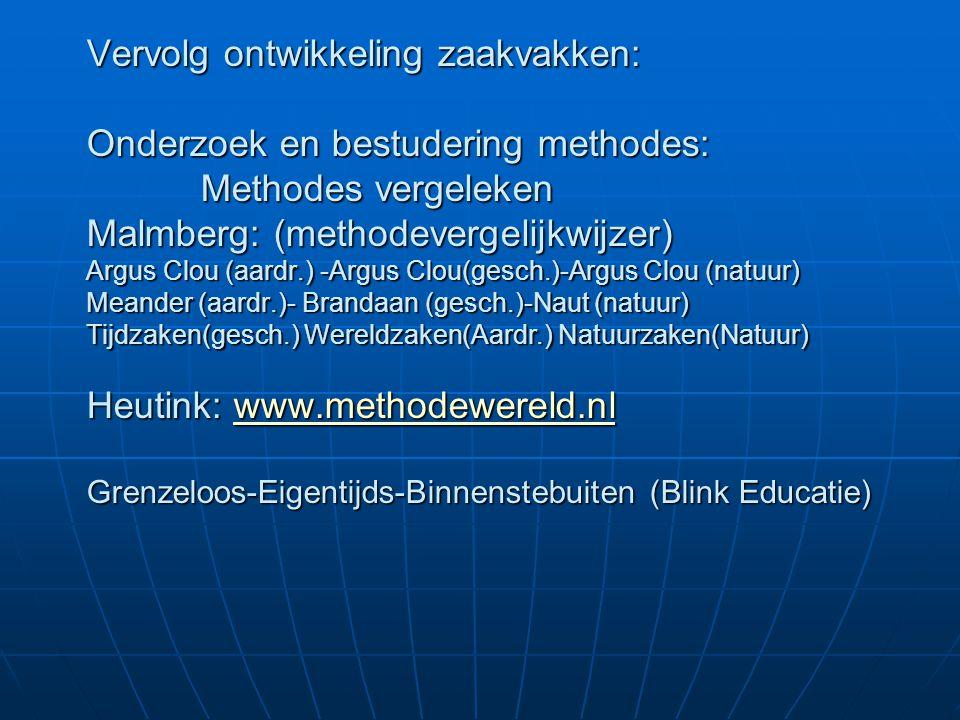 Vervolg ontwikkeling zaakvakken: Onderzoek en bestudering methodes: Methodes vergeleken Malmberg: (methodevergelijkwijzer) Argus Clou (aardr.) -Argus
