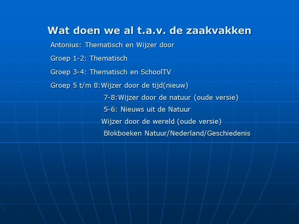 Wat doen we al t.a.v. de zaakvakken Antonius: Thematisch en Wijzer door Groep 1-2: Thematisch Groep 3-4: Thematisch en SchoolTV Groep 5 t/m 8:Wijzer d