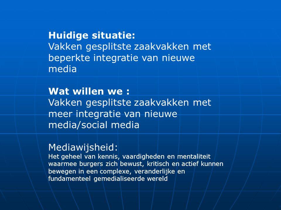 Huidige situatie: Vakken gesplitste zaakvakken met beperkte integratie van nieuwe media Wat willen we : Vakken gesplitste zaakvakken met meer integrat