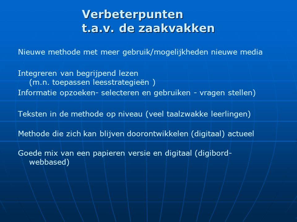 Verbeterpunten t.a.v. de zaakvakken Nieuwe methode met meer gebruik/mogelijkheden nieuwe media Integreren van begrijpend lezen (m.n. toepassen leesstr