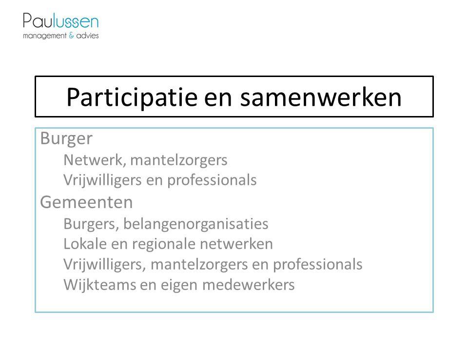 Participatie en samenwerken Burger Netwerk, mantelzorgers Vrijwilligers en professionals Gemeenten Burgers, belangenorganisaties Lokale en regionale netwerken Vrijwilligers, mantelzorgers en professionals Wijkteams en eigen medewerkers