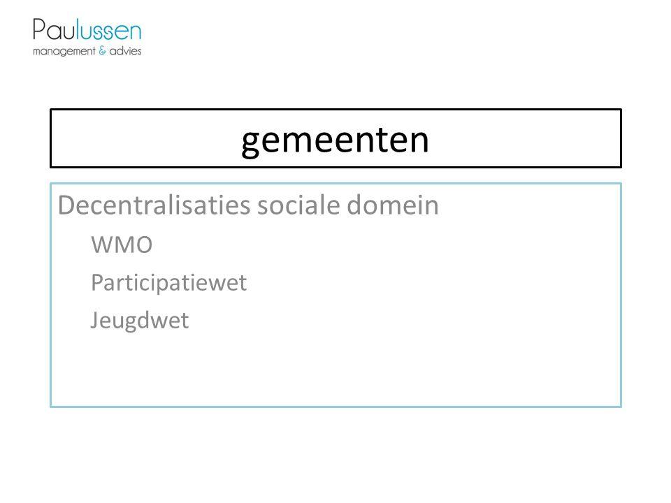 gemeenten Decentralisaties sociale domein WMO Participatiewet Jeugdwet