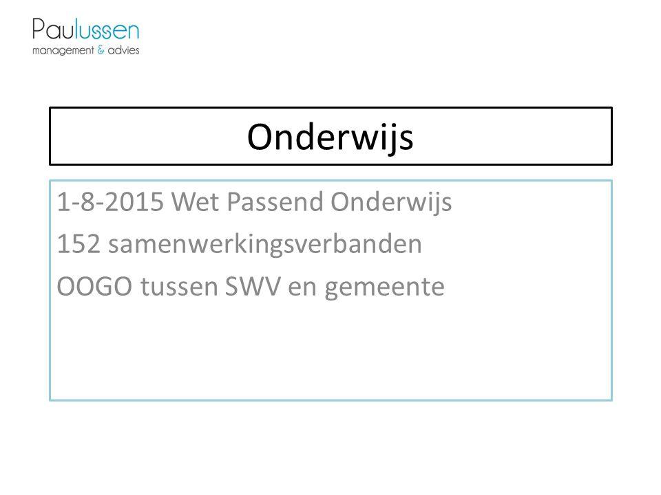 Onderwijs 1-8-2015 Wet Passend Onderwijs 152 samenwerkingsverbanden OOGO tussen SWV en gemeente