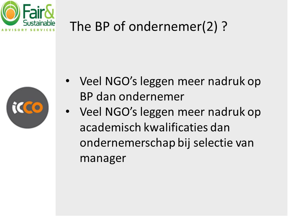 The BP of ondernemer(2) .