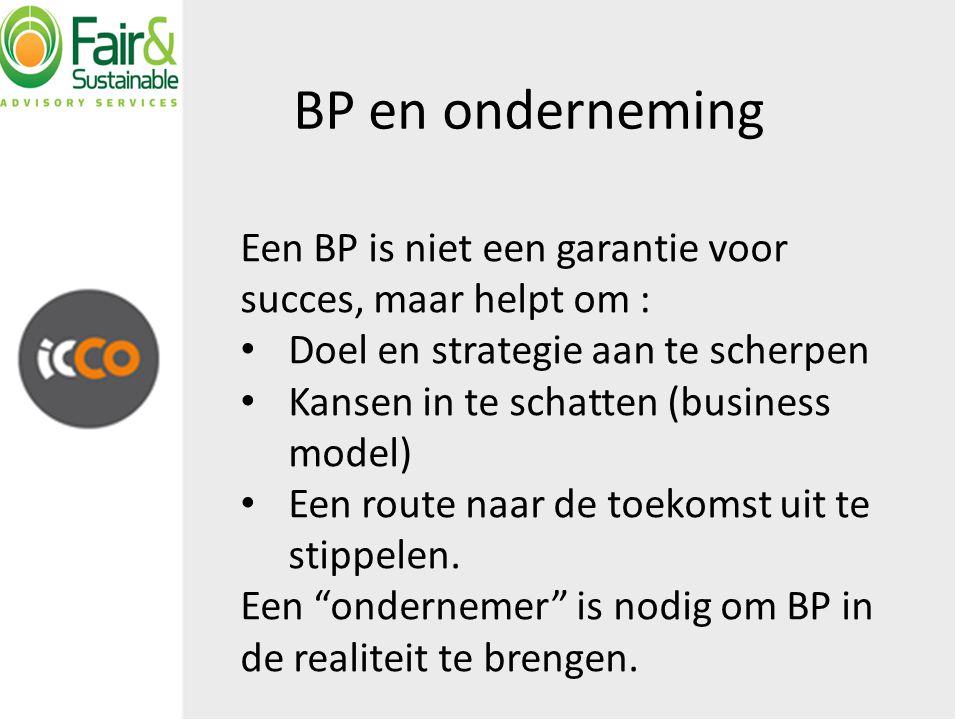 Een BP is niet een garantie voor succes, maar helpt om : Doel en strategie aan te scherpen Kansen in te schatten (business model) Een route naar de toekomst uit te stippelen.